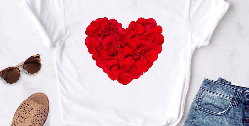 Women's T-Shirt Heart Flower Print for Women's Casual Summer White Short Sleeve