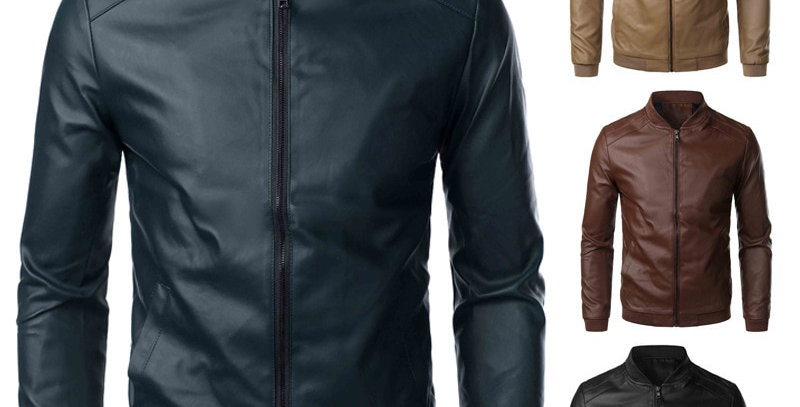Men Leather Jackets Stand Collar Jackets and Coats