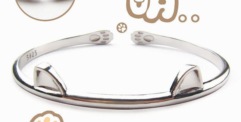 Fashionable Silver Lovely Cute Cat Cuff Bangles Animal Women Wrist Jewelry