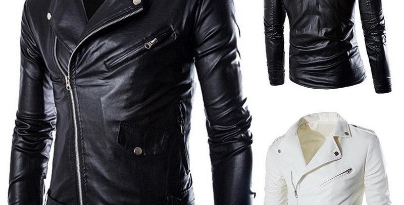 Leather Jacket Men Autumn Turn-Down Collar Slim Fit Male New Design