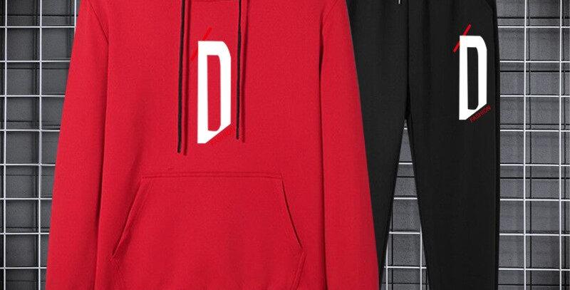 Sportswear Men Set Letter Sportswear Sweatsuit 2pcs Hoodies Sweatpants Suits