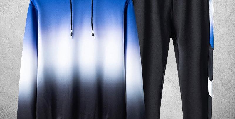 Tracksuit For Men 2 Pieces Set Hoodies + Sweatpants Sportswear Patchwork Hoodies