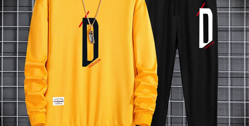 Casual Men's Tracksuit Autumn Letter Set Fashion Hoodies with Pants 2 Pieces