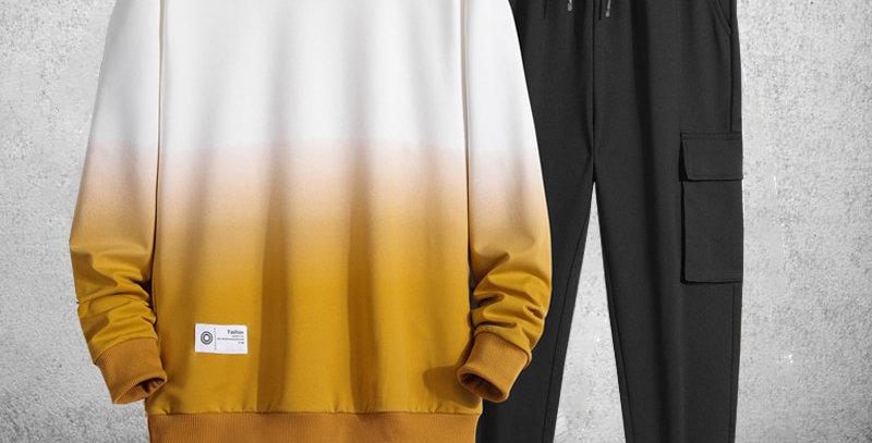 Men Fashion Sporting Suit Brand Patchwork Sweatshirt and Sweatpants For Men's