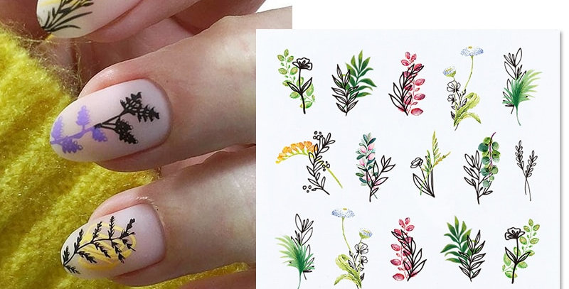 Simple Green Flowers Leaves Tree Water Decals Spring Summer Theme Stickers