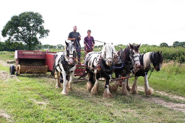 Hitch In Farm Running the Baler