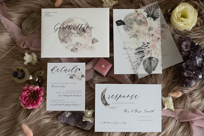 Vellum Our Cosmic Love Invitation Suite
