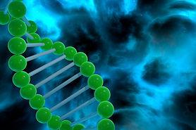 DNA strand spiral over nebula background