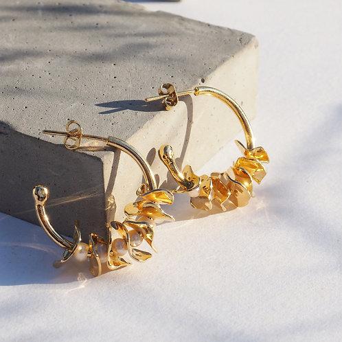 Créoles - Feuilles et perles