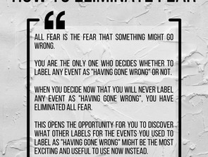 How to Eliminate Fear