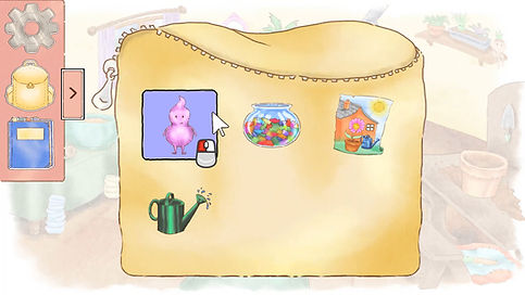 A screenshot of the player's inventory. It contains the lost voice, a jar of sweets, a picture of a house, and a watering can.