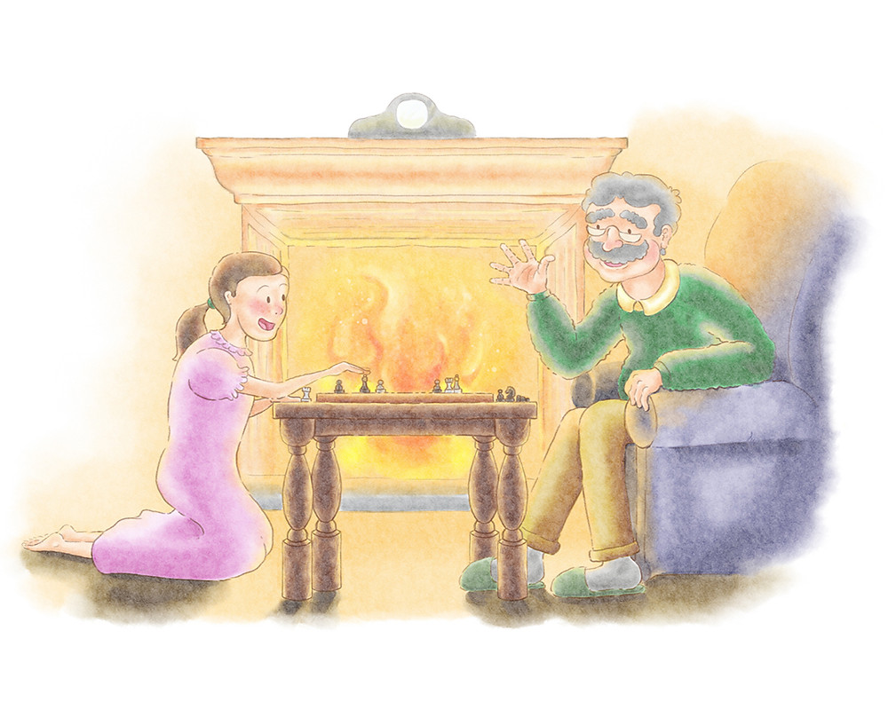 The scene is set in a cozy living room, with a warm fire by their side. Clara, the young girl has just beat her grandfather at chess, and he is happily surprised by her intelligence once again. Clara is in her nightdress sitting on her knees, while her grandfather is sitting in his favourite chair, not yet dressed for bed.