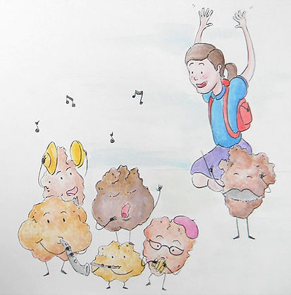 Concept art of a young girl, happily dancing along to music performed by a small band of crumb like creatures.