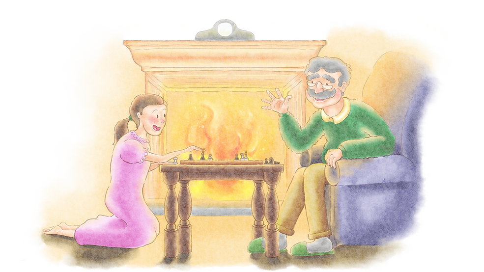 Clara playing chess with her grandfather, by a warm cozy fire.