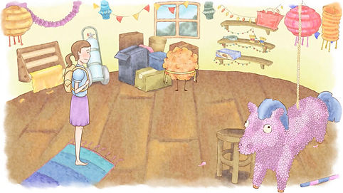 Screenshot of the environment inside the decorator's house. Also in this scene is a giant piñata, the decorator, and various other festival decorations.