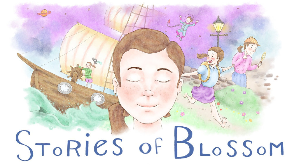 Key art for Stories of Blossom. In the center is the head of our main protagonist, Clara. She has her eyes closed, and imagines all the different characters of each story. Behind her, the rest of the artwork is cut into 4 colourful sections to help represent the characters you will play in the game. 1. A pirate on a ship. The waves are seen crashing against it. 2. An astronaut floating in space. 3. An adventurer running with her arms stretched to her sides. 4. A detective with a magnifying glass in old Victorian times.