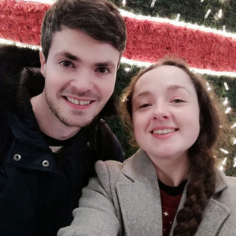 A selfie of Clare and Conor of Soft Leaf Studios, while at the Christmas market in Belfast.
