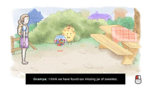 A gameplay screenshot taken at the picnic area.