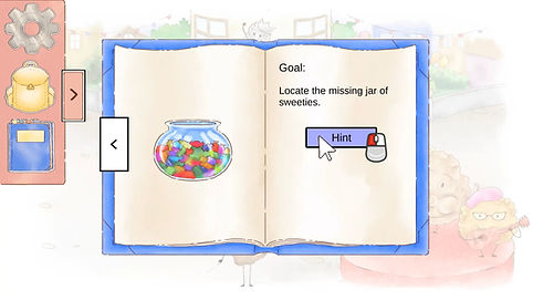 A screenshot of the diary in the game, showing the goal for the current mission. It is telling the player to locate the missing jar of sweeties, and includes a hint button.