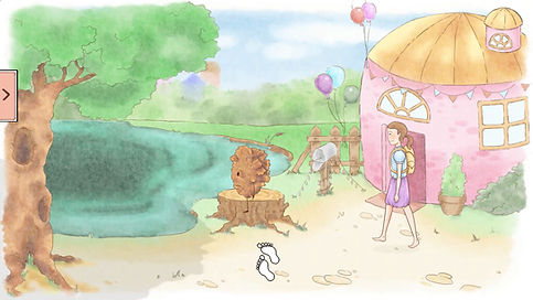 The environment outside the decorator's house. A sad Crumble is sitting on a stump, staring off into the nearby pond. Annie the adventurer is standing waiting for instructions from the player.