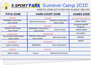 Summer Camp 2020 - Zones for 'Bubble Gro