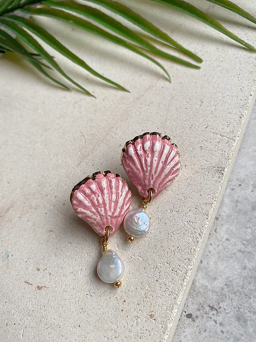 Porcelain seashells with Pearl - Dusty pink