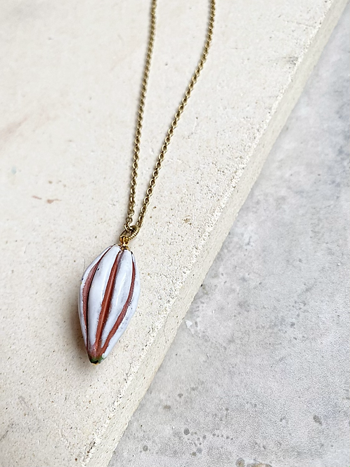 Single Estate Cocoa pod Necklace ( white )