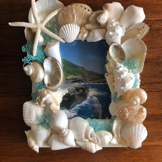 Beach-themed seaglass and shell frame