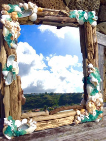 Driftwood, seaglass, and shell mirror