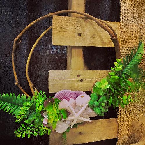Twig Wreath with Shells & Crystals