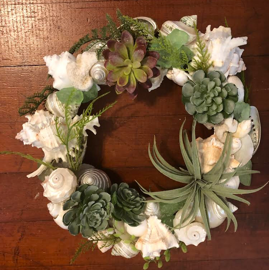 Faux succulents and shell wreath