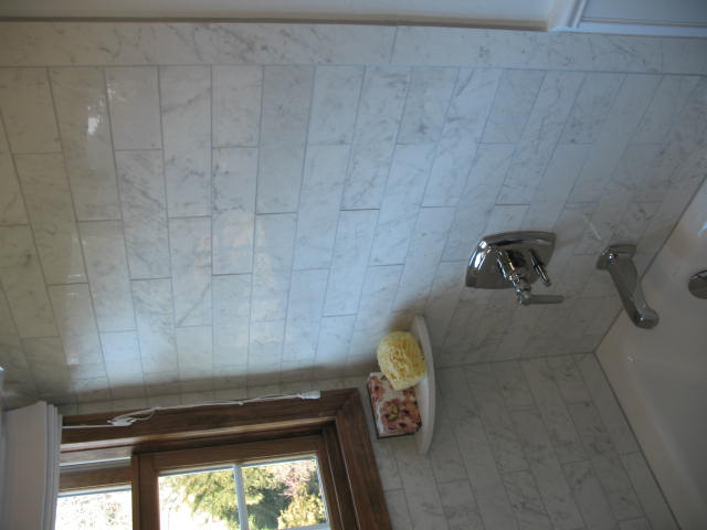 Tiled tub enclosure