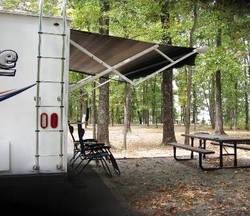 View of camper and lake