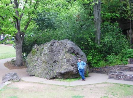 Dick by rock in park