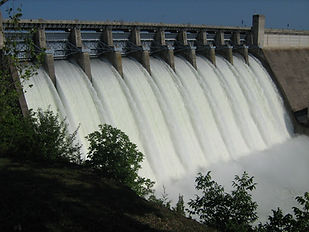 Bull Shoals Dam with all flood gates open.