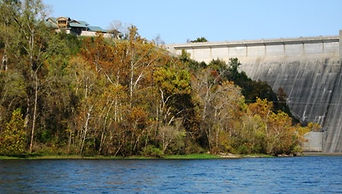 View of dam & center from river