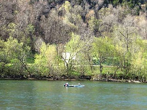 Boat on White River in early spring