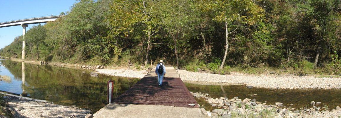 Arlene on trail along Cossatot River
