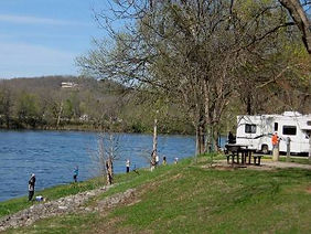 Fishing from bank by campground