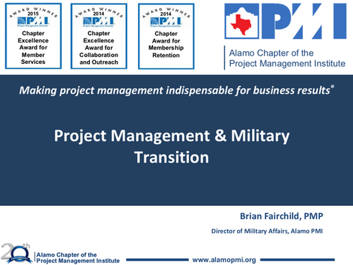 Alamo Chapter - Military Transition to PM