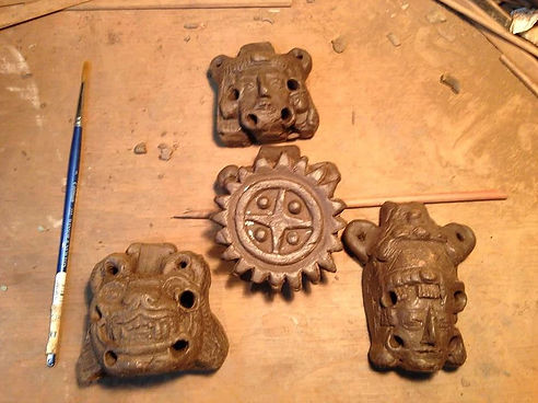 Freshly painted Mayan Aztec Instruments