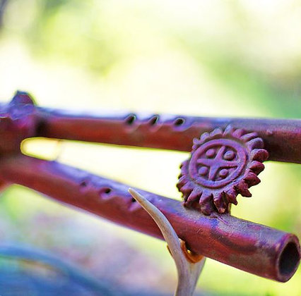 Double Vibrating Mayan Flute close-up