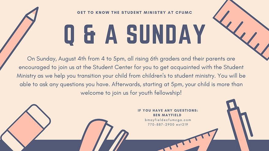 Announcement for TV slide for Q&A Sunday
