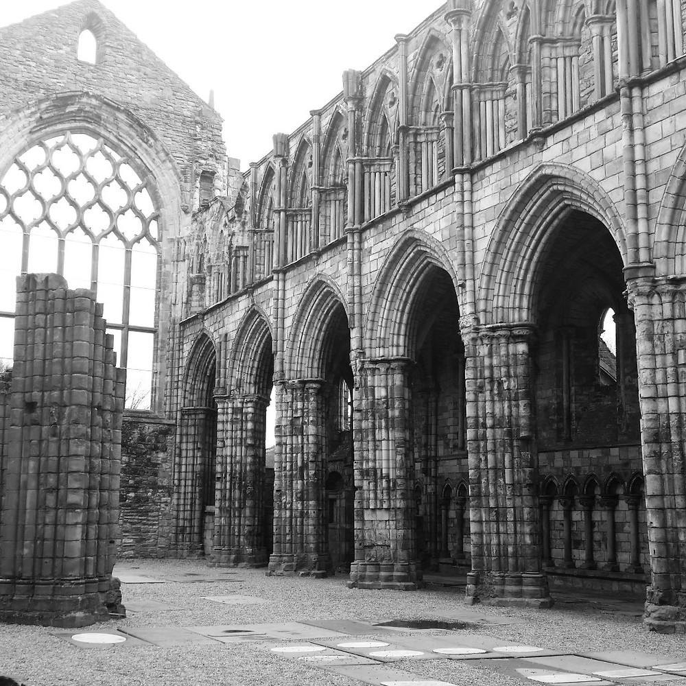 Holyrood Abbey ruins next to the Palace