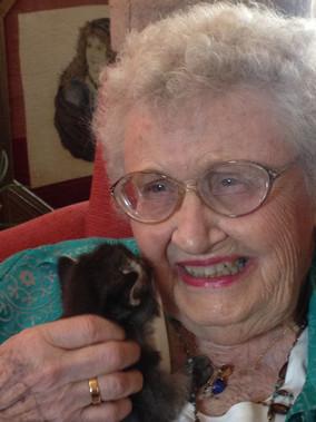 Fran with a Kitten.JPG