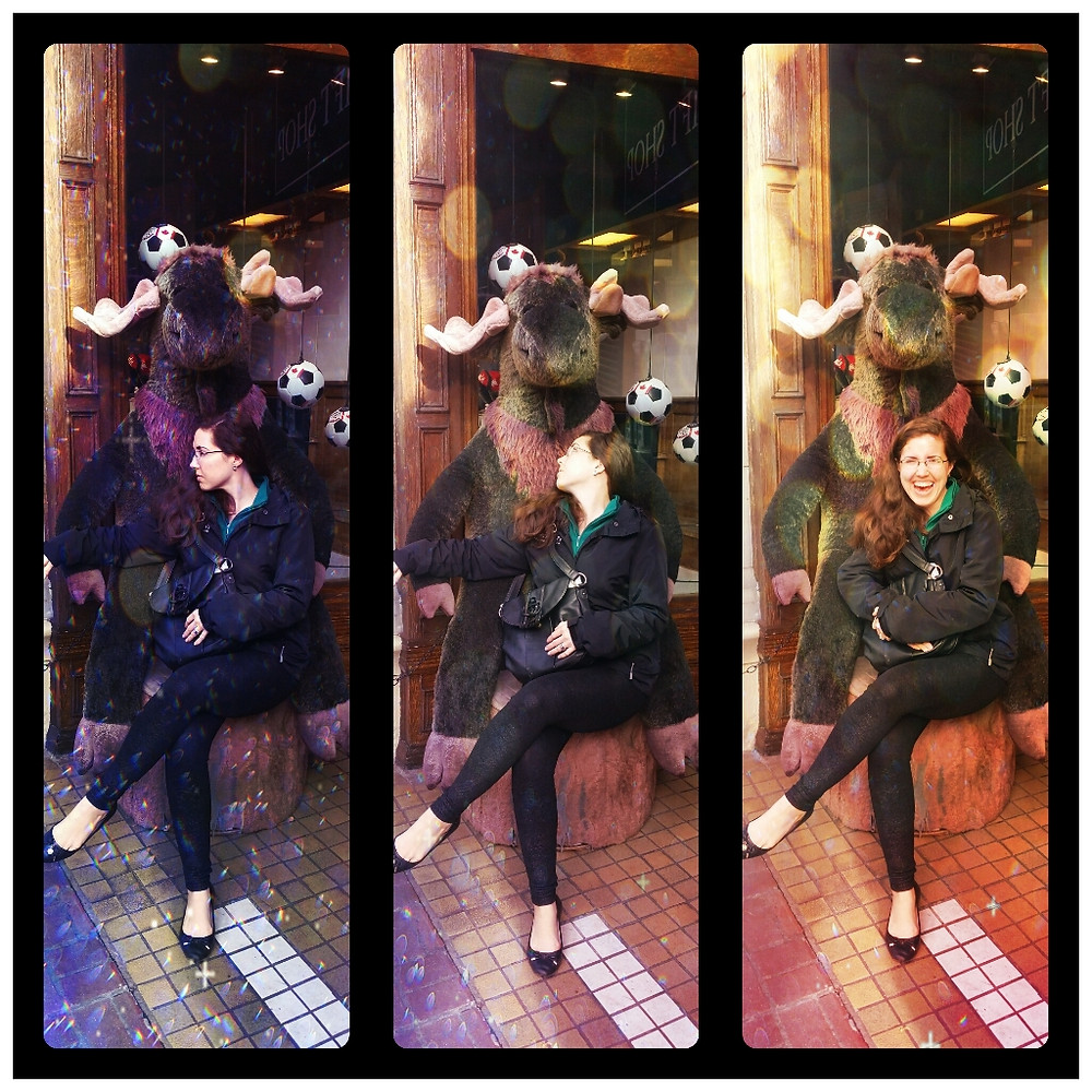 Me cavorting with a moose in downtown Victoria