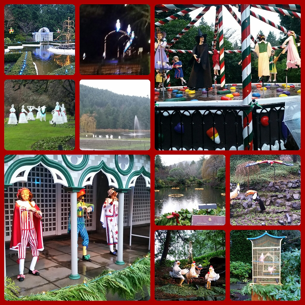 10 of the 12 days of Christmas at Butchart Gardens. (My collage maker won't let me l more than 10.)  I now know all the all the words to the song!