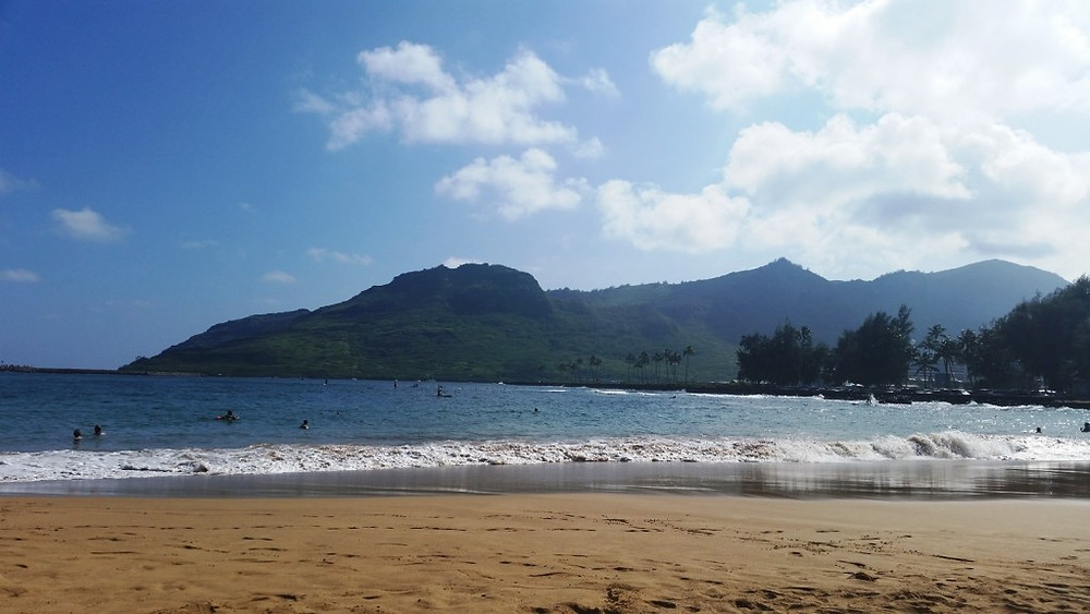 Taking in the beach in Nawiliwili, Kauai