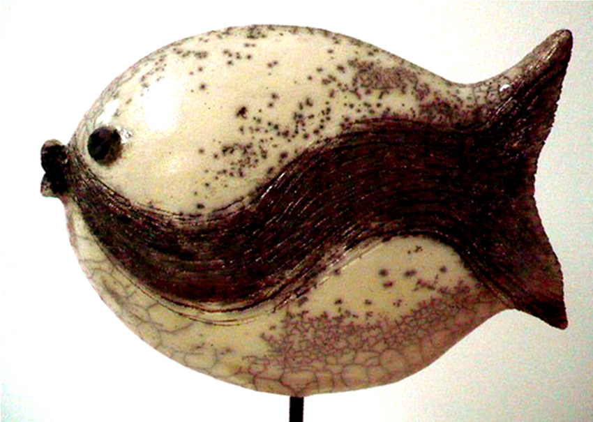 Raku fish with moustache