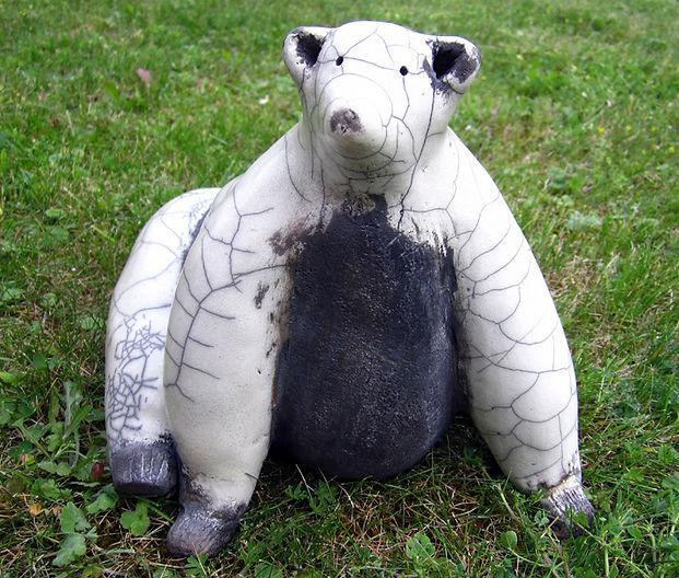 Raku polar bear Nathalie Hamill
